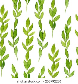 Green leaves seamless pattern. Spring branches and leaves isolated on white background. Real watercolor painting.