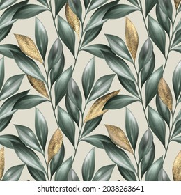 Green leaves seamless pattern. Summer floral background