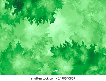 Green leaves in the wind. Branch of a tree, a birch, oak, maple. Watercolor  green background, blot, blob, splash of green paint. Watercolor green sky, spot, abstraction.