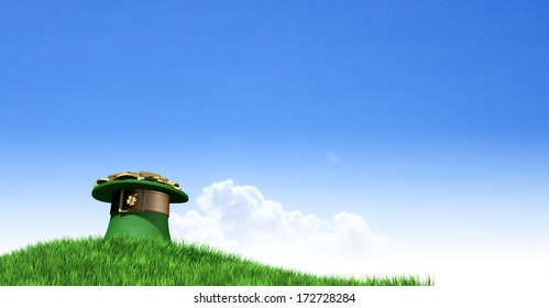 A green leprechaun hat with a brown belt emblazoned with a gold shamrock and overflowing with gold pieces at the end of a rainbow on a green grass hill with a clear blue sky background