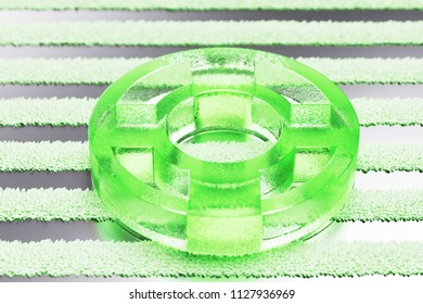 Green Life Ring Icon on the Silver Stripes Background. 3D Illustration of Green Floatation Device, Guardar, Life Buoy, Life Ring, Life Save Icon Set With Striped Pattern.