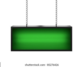Green lightbox without any inscription