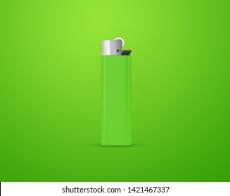 Green lighter isolated on green background with clipping path. Disposable plastic lighter. Surface closeup for your design. Blank gas cigar-lighter mockup element. 3d illustration.
