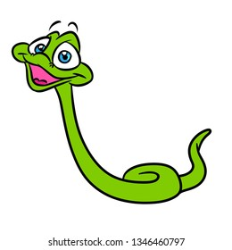Green little snake cartoon illustration isolated image