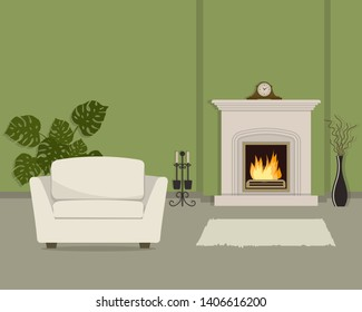 Green living room with fireplace and white armchair. The room also has a vase with decorative branches, mantel clock and big flower. Raster