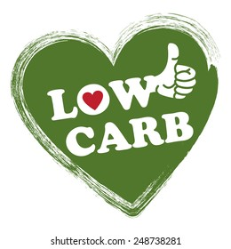Green Low Carb Heart Shape Sticker, Icon or Label Isolated on White Background
