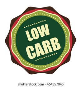 Green Low Carb Product Information Infographics Icon or Label Isolated on White Background