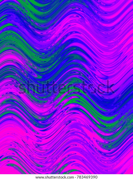 Green, magenta and blue digital background made of wavy lines. Illustration