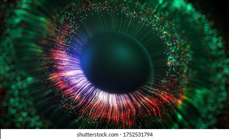Green and magenta lines after the explosion form a three-dimensional model of the human pupil, eyes. Human iris concept. 3D rendering animated abstract background in 4K