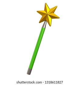 Green magic star wand 3d illustration isolated on white background