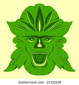 The Green Man, ancient pagan spirit of woods and forests, in Spring colors.