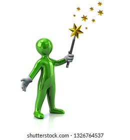 Green man with magic wand and golden stars 3d illustration on white background