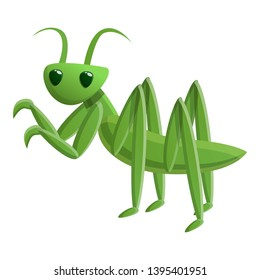 Green mantis icon. Cartoon of green mantis icon for web design isolated on white background