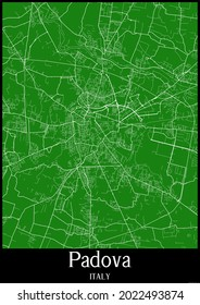 Green map of Padova Italy with black frame