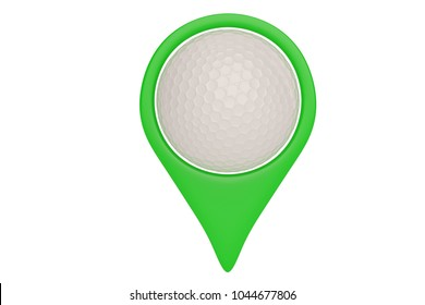 Green map pointer with golf ball location concept isolated on white background. 3D illustration.