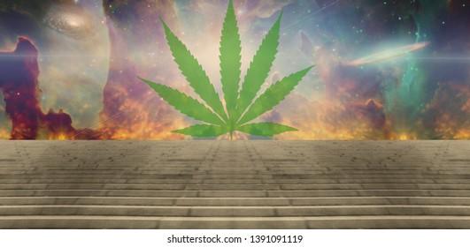 Green marijuana leaf in surreal space scene. 3D rendering