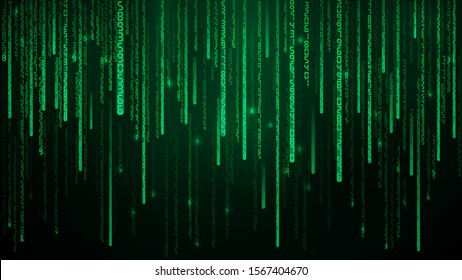 Green matrix numbers. Cyberspace with green falling digital lines. Abstract background illustration