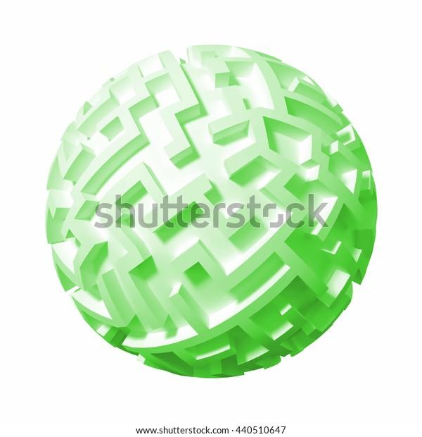 green maze planet (3d illustration)