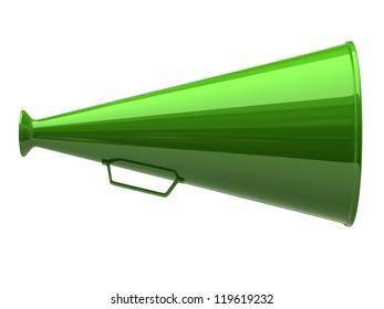 Green megaphone icon on white background