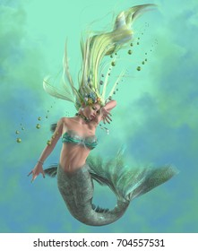 Green Mermaid 3d illustration - A mermaid is a mythical legendary creature composed of a beautiful woman with a fish tail.