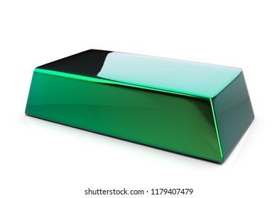 green metal bullion 3D rendering