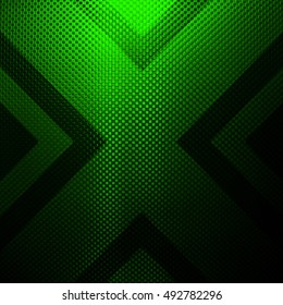 green metal design with x pattern