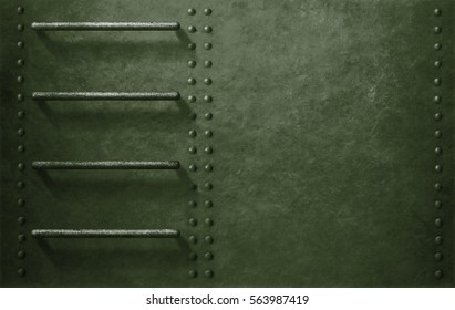 green metal military vehicle side background with stairs