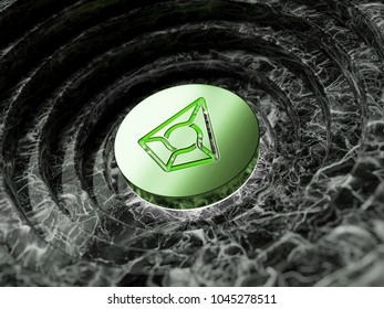 Green Metallic Augur Symbol in the Black Marble Background. 3D Illustration of Green Augur Logo for Finance Magazines.
