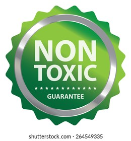 Green Metallic Non Toxic Guarantee Badge, Icon, Sticker or Label Isolated on White Background
