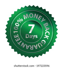 Green Metallic Style 7 Days 100 Percent Money Back Guarantee Badge, Icon, Label or Sticker Isolated on White Background