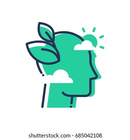 Green Mind - modern single line icon. An image of an emerald head in the clouds, sun, leaves. Representation of smart thinking, eco idea, inspiration, hope