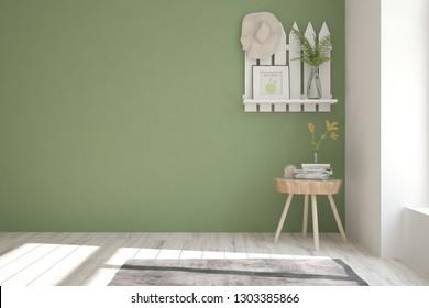 Green minimalist empty room with home decor. Scandinavian interior design. 3D illustration
