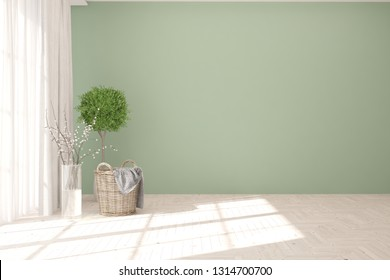 Green minimalist empty room. Scandinavian interior design. 3D illustration