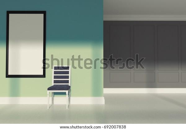 Green Minimalist Living Room Interior Gray Stock Illustration 692007838