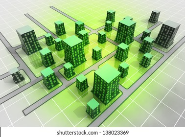 green modern orthogonal city top perspective illustration