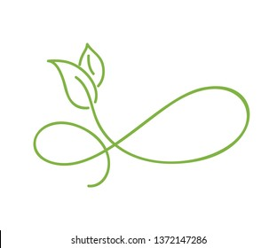 Green monoline calligraphy logo of green leaf ecology element. Divider or corner design for wedding and Valentines Day, birthday greeting card and web, eco icon