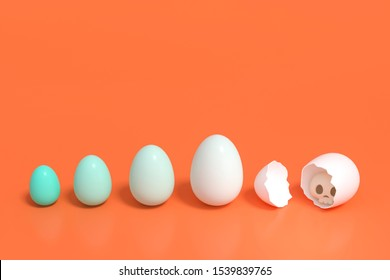 Green Monotone Eggs on orange background 3d rendering. Row of green tone eggs and skull hidden in white egg on orange background. 3d illustration minimal style concept. Halloween Festival.