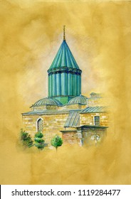 Green Mosque and Tomb in Konya ,Turkey. Watercolor illustration on Old paper.