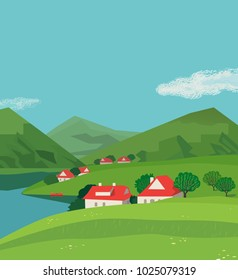 Green mountains landscape poster. Freehand drawn cartoon outdoors style. Alps rural community houses on valley. Mountain lake view, hills. Countryside scene background. Summer season nature scene