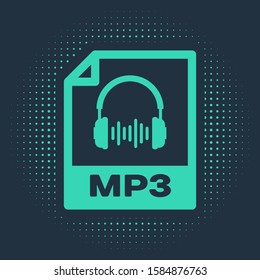 Green MP3 file document. Download mp3 button icon isolated on blue background. Mp3 music format sign. MP3 file symbol. Abstract circle random dots.