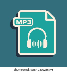 Green MP3 file document. Download mp3 button icon isolated on blue background. Mp3 music format sign. MP3 file symbol. Long shadow style.