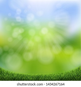 Green Nature Bokeh With Green Grass Border
