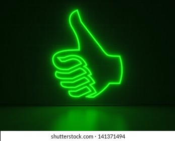A green Neon Sign in Form of a Hand with Thumb Up on a Wall of Concrete
