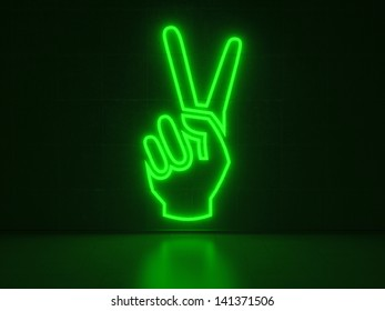 A green Neon Sign in Form of a Hand showing the Victory-Sign on a Wall of Concrete
