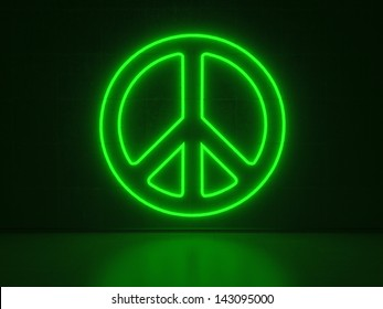A green Neon Sign in Form of the Peace Symbol on a Wall of Concrete