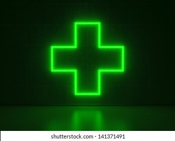 A green Neon Sign in Form of a Plus on a Wall of Concrete