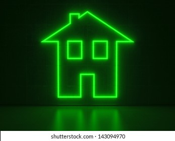 A green Neon Sign in Form of a simple House on a Wall of Concrete