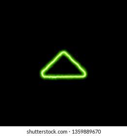 green neon symbol caret up
