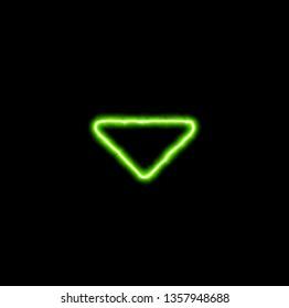 green neon symbol caret down