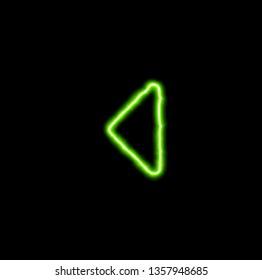 green neon symbol caret left